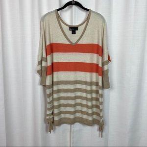 Lane Bryant Beige&Orange Stripe Sweater Sz.14/16